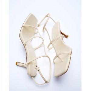 Zara off white Strap heeled sandals